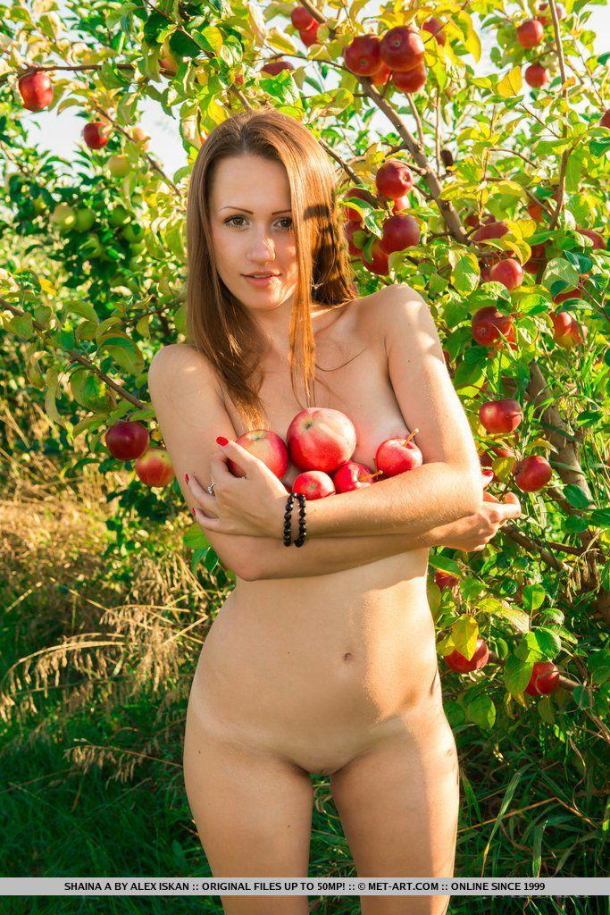 Скромная красотка Shaina A снимает одежду на фоне дерева и показывает свое нагое, гибкое тело